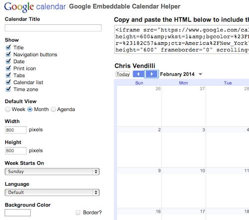 Google Calendar Embed Helper